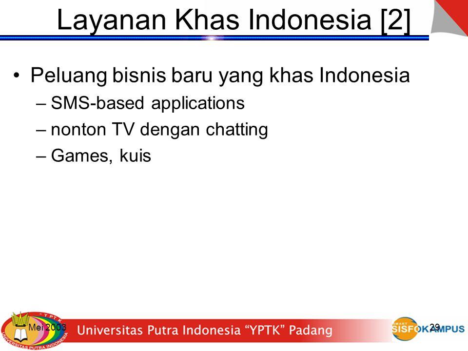 Mei 200329 Layanan Khas Indonesia [2] Peluang bisnis baru yang khas Indonesia –SMS-based applications –nonton TV dengan chatting –Games, kuis