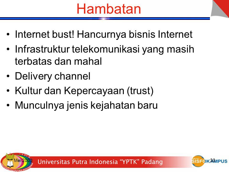 Mei 200330 Hambatan Internet bust! Hancurnya bisnis Internet Infrastruktur telekomunikasi yang masih terbatas dan mahal Delivery channel Kultur dan Ke