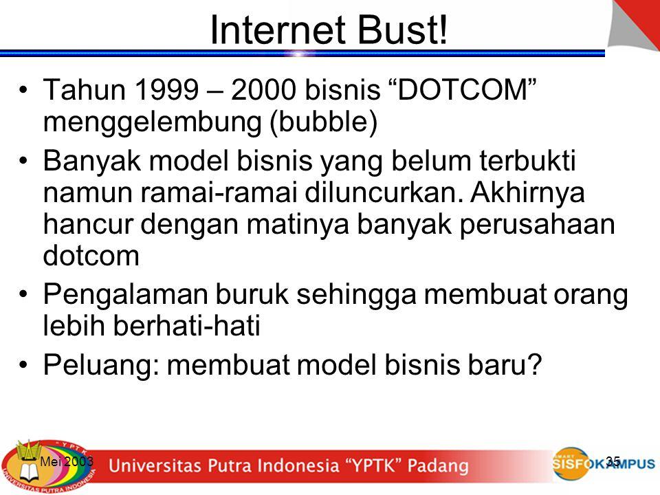 """Mei 200335 Internet Bust! Tahun 1999 – 2000 bisnis """"DOTCOM"""" menggelembung (bubble) Banyak model bisnis yang belum terbukti namun ramai-ramai diluncurk"""