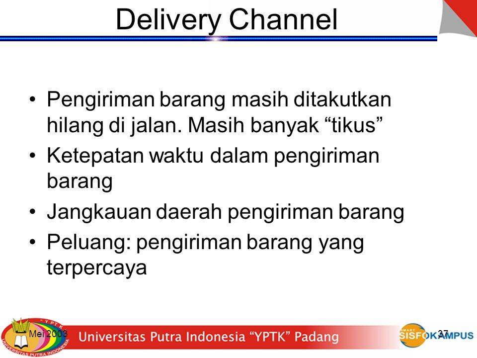 """Mei 200337 Delivery Channel Pengiriman barang masih ditakutkan hilang di jalan. Masih banyak """"tikus"""" Ketepatan waktu dalam pengiriman barang Jangkauan"""
