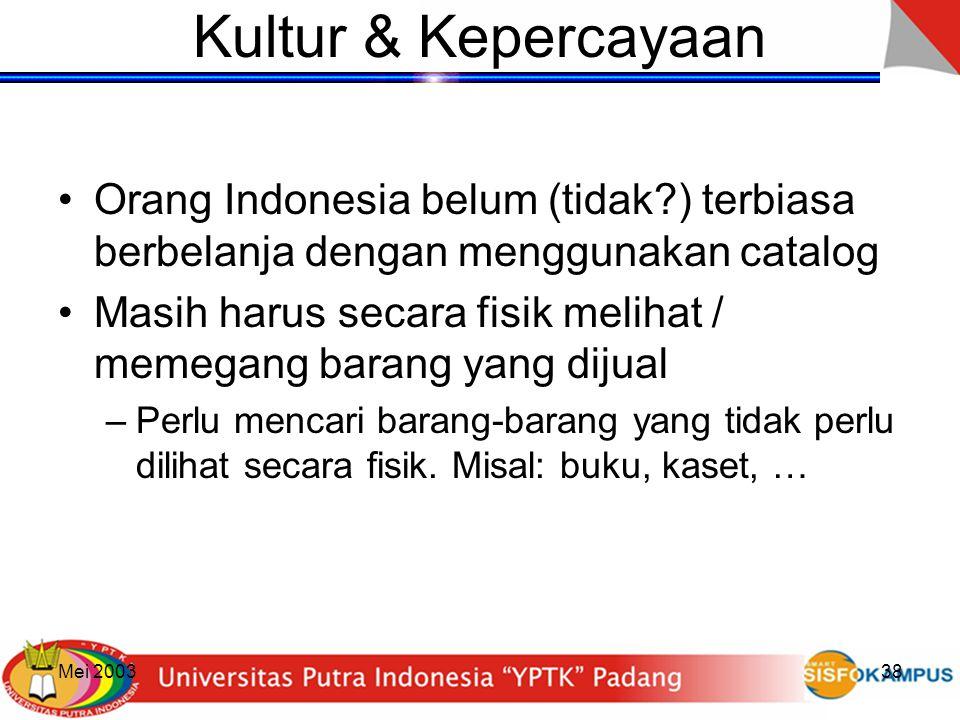 Mei 200338 Kultur & Kepercayaan Orang Indonesia belum (tidak?) terbiasa berbelanja dengan menggunakan catalog Masih harus secara fisik melihat / memeg