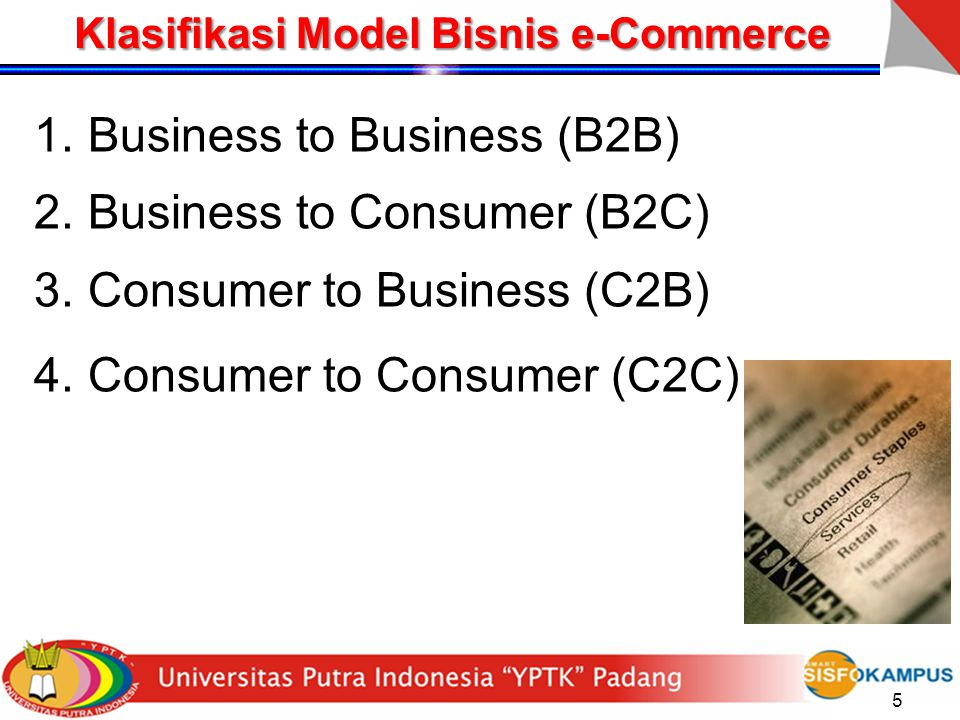 5 Klasifikasi Model Bisnis e-Commerce 1.Business to Business (B2B) 2.Business to Consumer (B2C) 3.Consumer to Business (C2B) 4.Consumer to Consumer (C2C)
