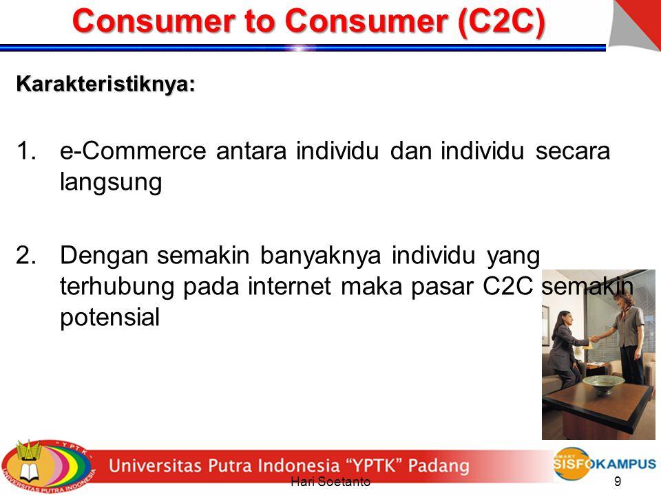 Hari Soetanto9 Consumer to Consumer (C2C) Karakteristiknya: 1.e-Commerce antara individu dan individu secara langsung 2.Dengan semakin banyaknya indiv