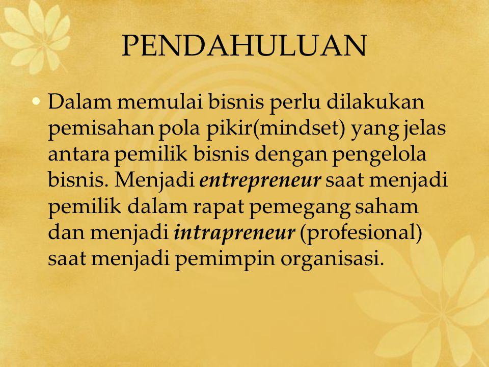PENDAHULUAN Dalam memulai bisnis perlu dilakukan pemisahan pola pikir(mindset) yang jelas antara pemilik bisnis dengan pengelola bisnis. Menjadi entre