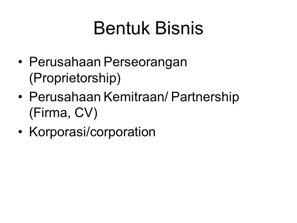 Bentuk Bisnis Perusahaan Perseorangan (Proprietorship) Perusahaan Kemitraan/ Partnership (Firma, CV) Korporasi/corporation
