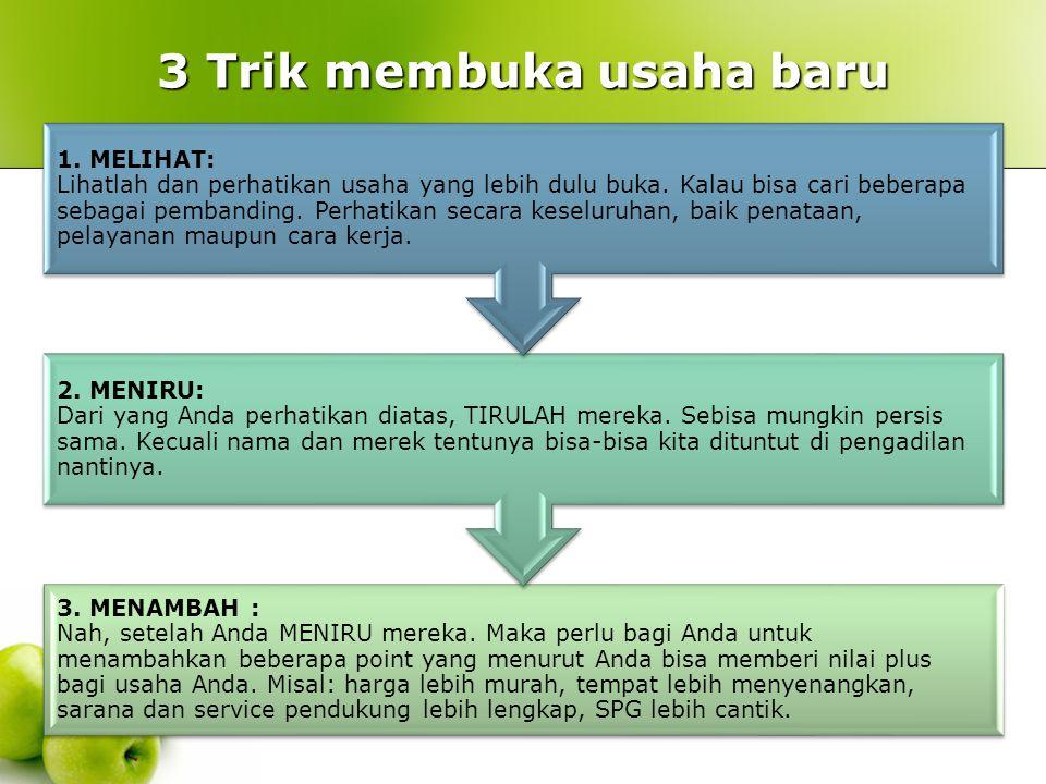 3 Trik membuka usaha baru 3. MENAMBAH : Nah, setelah Anda MENIRU mereka. Maka perlu bagi Anda untuk menambahkan beberapa point yang menurut Anda bisa