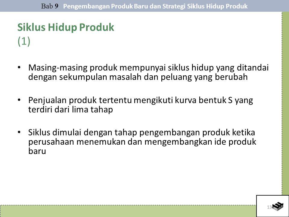 13 Siklus Hidup Produk (1) Masing-masing produk mempunyai siklus hidup yang ditandai dengan sekumpulan masalah dan peluang yang berubah Penjualan prod