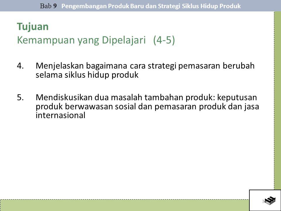 3 Tujuan Kemampuan yang Dipelajari (4-5) 4.Menjelaskan bagaimana cara strategi pemasaran berubah selama siklus hidup produk 5.Mendiskusikan dua masalah tambahan produk: keputusan produk berwawasan sosial dan pemasaran produk dan jasa internasional Bab 9 Pengembangan Produk Baru dan Strategi Siklus Hidup Produk