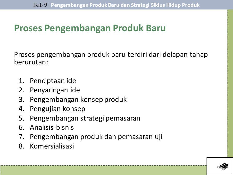 8 Proses Pengembangan Produk Baru Proses pengembangan produk baru terdiri dari delapan tahap berurutan: 1.Penciptaan ide 2.Penyaringan ide 3.Pengembangan konsep produk 4.Pengujian konsep 5.Pengembangan strategi pemasaran 6.Analisis-bisnis 7.Pengembangan produk dan pemasaran uji 8.Komersialisasi Bab 9 Pengembangan Produk Baru dan Strategi Siklus Hidup Produk