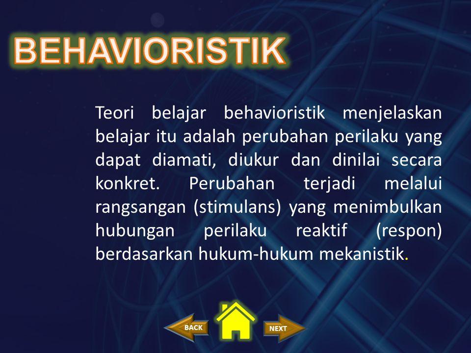 Teori belajar behavioristik menjelaskan belajar itu adalah perubahan perilaku yang dapat diamati, diukur dan dinilai secara konkret. Perubahan terjadi