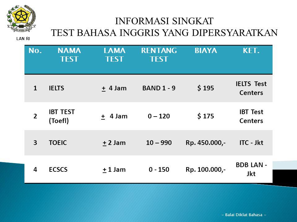 LAN RI INFORMASI SINGKAT TEST BAHASA INGGRIS YANG DIPERSYARATKAN No.NAMA TEST LAMA TEST RENTANG TEST BIAYAKET. 1IELTS+ 4 JamBAND 1 - 9$ 195 IELTS Test