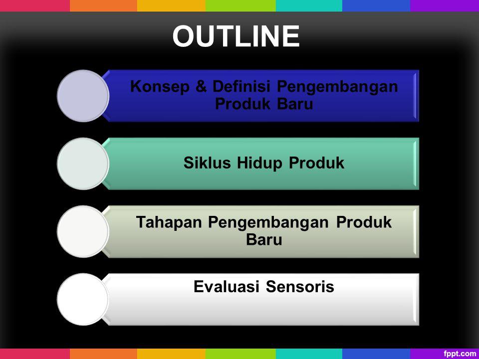 OUTLINE Konsep & Definisi Pengembangan Produk Baru Siklus Hidup Produk Tahapan Pengembangan Produk Baru Evaluasi Sensoris