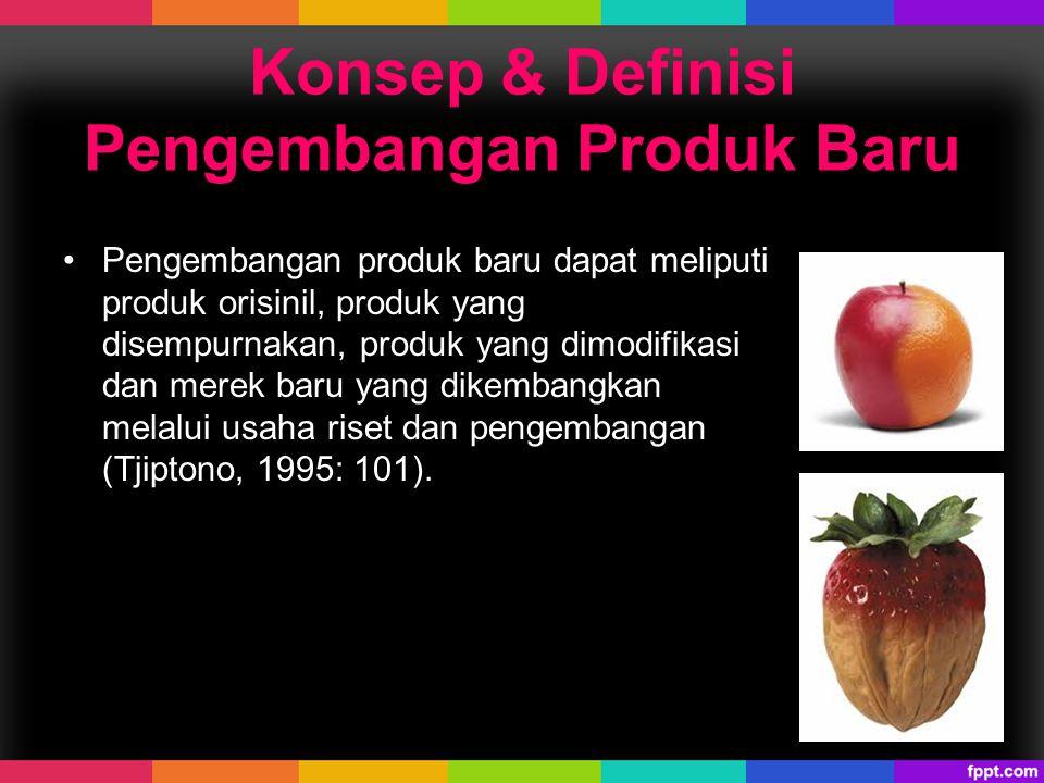 Konsep & Definisi Pengembangan Produk Baru Pengembangan produk baru dapat meliputi produk orisinil, produk yang disempurnakan, produk yang dimodifikas