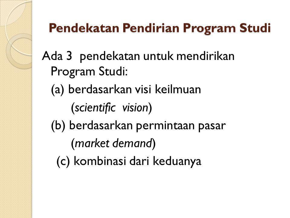 Pendekatan Pendirian Program Studi Ada 3 pendekatan untuk mendirikan Program Studi: (a) berdasarkan visi keilmuan (scientific vision) (b) berdasarkan permintaan pasar (market demand) (c) kombinasi dari keduanya
