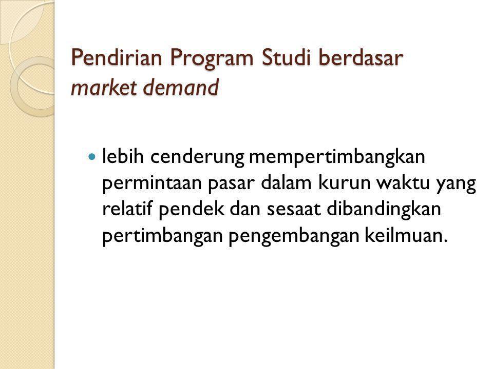 Pendirian Program Studi berdasar market demand lebih cenderung mempertimbangkan permintaan pasar dalam kurun waktu yang relatif pendek dan sesaat dibandingkan pertimbangan pengembangan keilmuan.