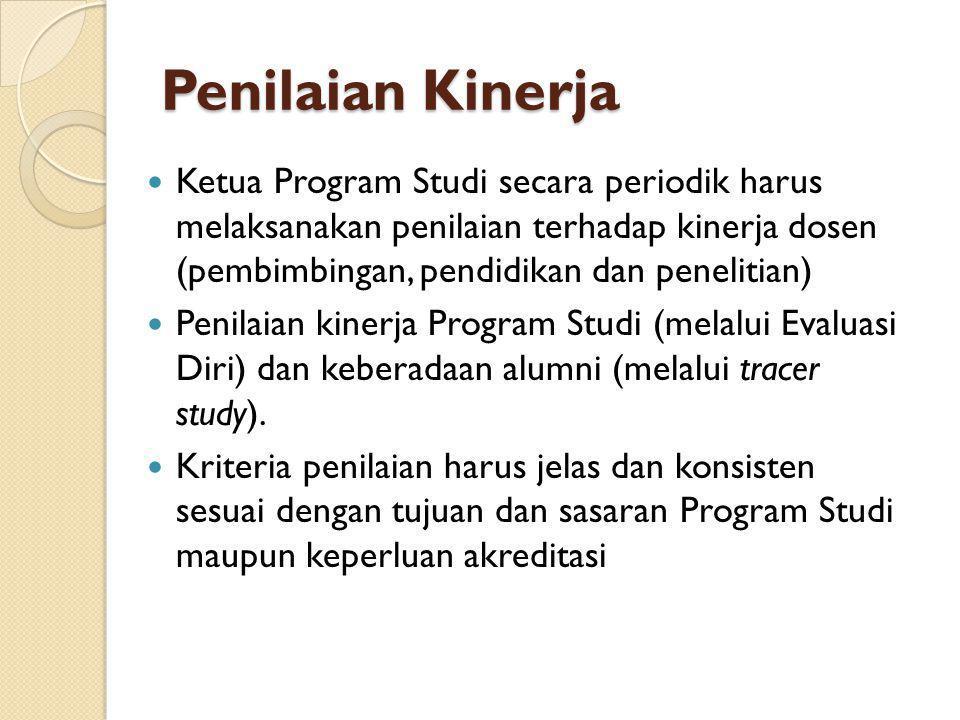 Penilaian Kinerja Ketua Program Studi secara periodik harus melaksanakan penilaian terhadap kinerja dosen (pembimbingan, pendidikan dan penelitian) Pe