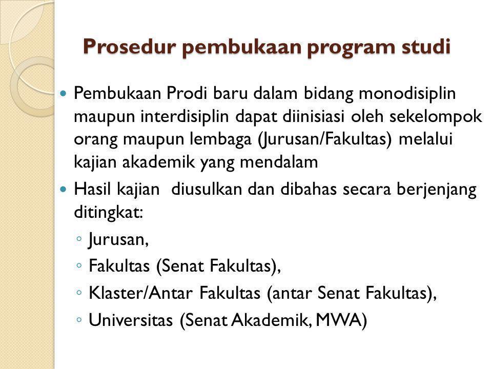 Prosedur pembukaan program studi Pembukaan Prodi baru dalam bidang monodisiplin maupun interdisiplin dapat diinisiasi oleh sekelompok orang maupun lem