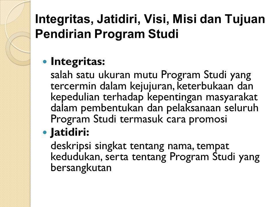 Integritas, Jatidiri, Visi, Misi dan Tujuan Pendirian Program Studi Integritas: salah satu ukuran mutu Program Studi yang tercermin dalam kejujuran, k