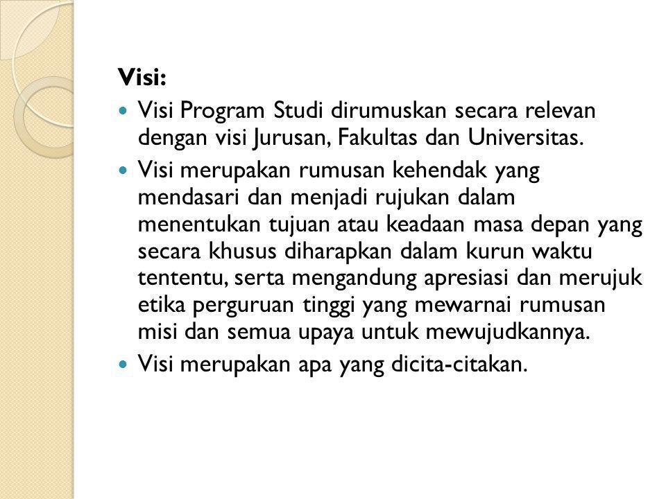 Visi: Visi Program Studi dirumuskan secara relevan dengan visi Jurusan, Fakultas dan Universitas. Visi merupakan rumusan kehendak yang mendasari dan m