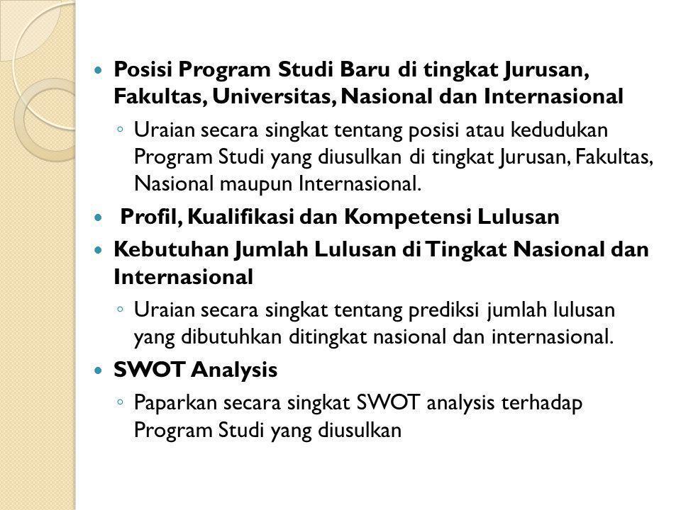 Posisi Program Studi Baru di tingkat Jurusan, Fakultas, Universitas, Nasional dan Internasional ◦ Uraian secara singkat tentang posisi atau kedudukan