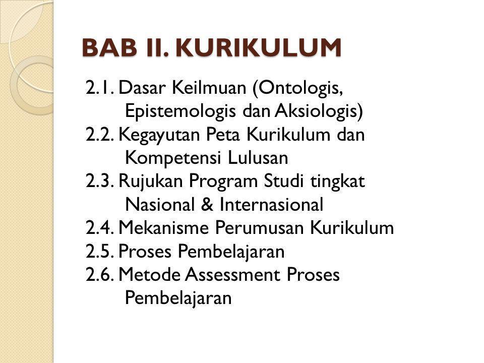 BAB II. KURIKULUM 2.1. Dasar Keilmuan (Ontologis, Epistemologis dan Aksiologis) 2.2. Kegayutan Peta Kurikulum dan Kompetensi Lulusan 2.3. Rujukan Prog