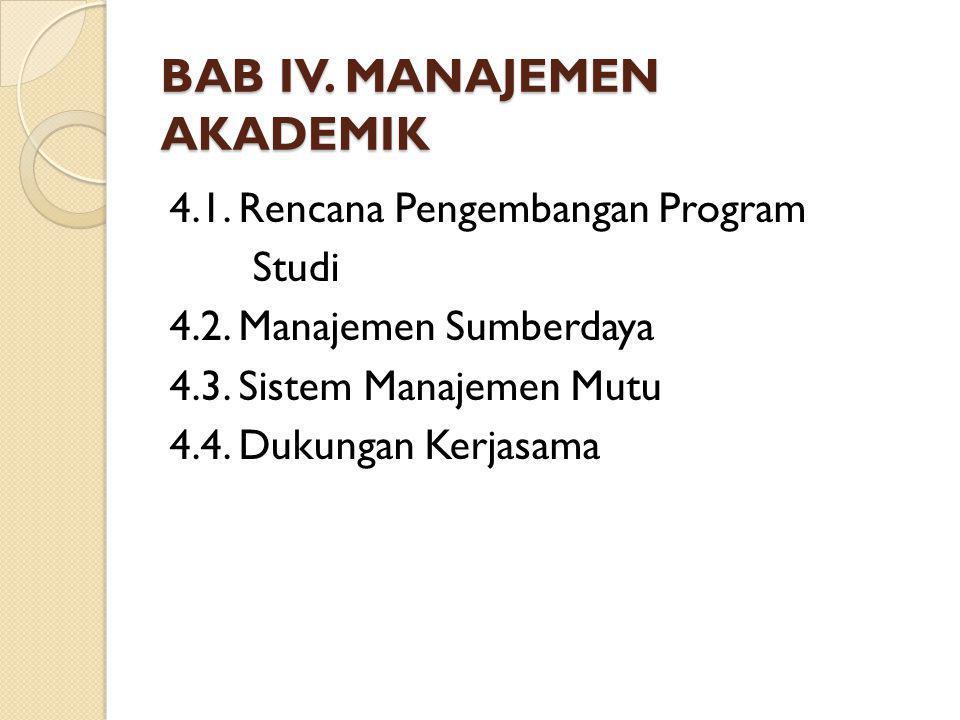 BAB IV. MANAJEMEN AKADEMIK 4.1. Rencana Pengembangan Program Studi 4.2. Manajemen Sumberdaya 4.3. Sistem Manajemen Mutu 4.4. Dukungan Kerjasama