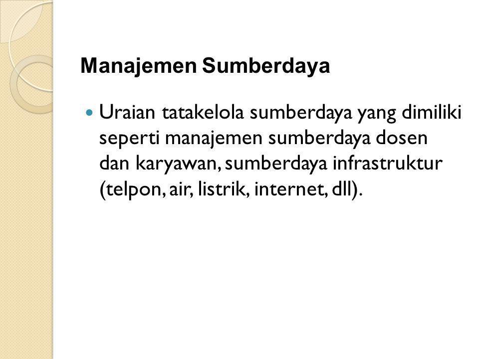 Manajemen Sumberdaya Uraian tatakelola sumberdaya yang dimiliki seperti manajemen sumberdaya dosen dan karyawan, sumberdaya infrastruktur (telpon, air, listrik, internet, dll).