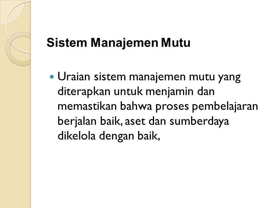 Sistem Manajemen Mutu Uraian sistem manajemen mutu yang diterapkan untuk menjamin dan memastikan bahwa proses pembelajaran berjalan baik, aset dan sumberdaya dikelola dengan baik,