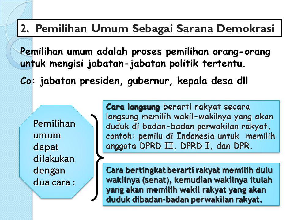 2.Pemilihan Umum Sebagai Sarana Demokrasi Pemilihan umum adalah proses pemilihan orang-orang untuk mengisi jabatan-jabatan politik tertentu. Co: jabat