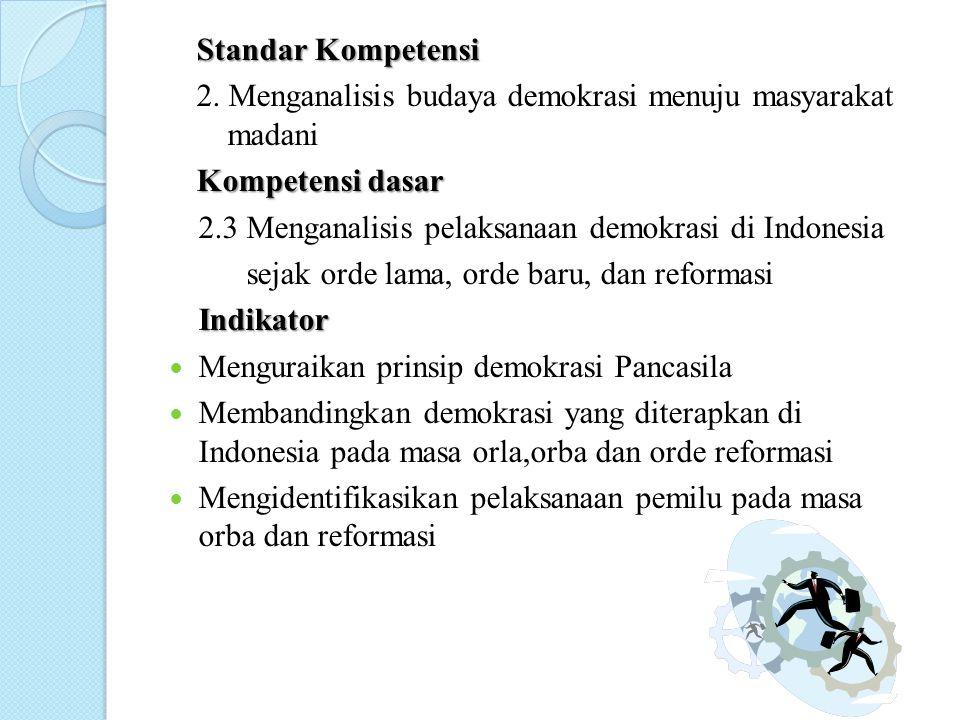 Standar Kompetensi 2. Menganalisis budaya demokrasi menuju masyarakat madani Kompetensi dasar Kompetensi dasar 2.3 Menganalisis pelaksanaan demokrasi