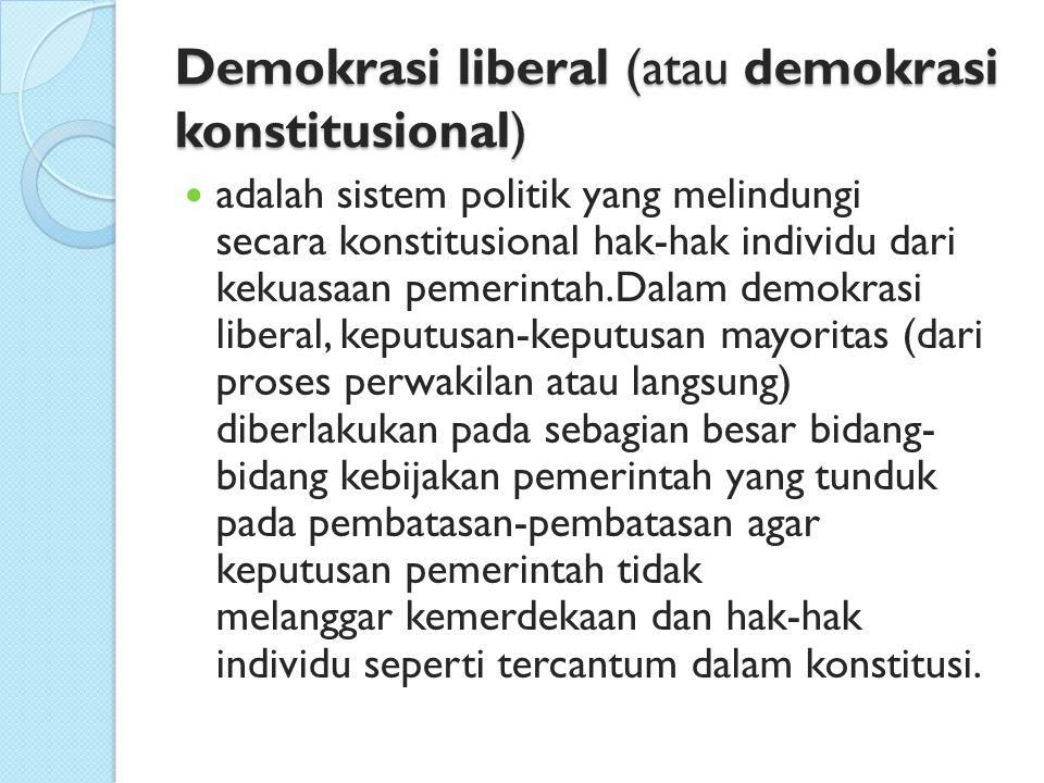 DEMOKRASI KOMUNIS Merupakan bentuk demokrasi yang sangat membatasi agama pada rakyatnya, dengan prinsip agama dianggap candu yang membuat orang berangan-angan yang membatasi rakyatnya dari pemikiran yang rasional dan nyata Demokrasi komunis muncul karena adanya komunisme Negara yang menganut system demokrasi Komunis hanya dikendalikan 1 partai komunis pada bidang legislatif, eksekutif, dan yudikatif Prinsip Demokrasi Komunis adalah milik rakyat dan dikuasai oleh negara untuk kemakmuran rakyat secara merata.