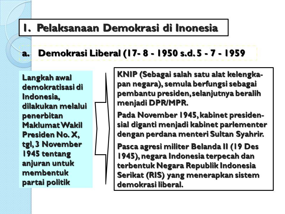 Tentang peristiwa jatuh bangunnya kabinet, adalah berikut ini : 1.Kabinet Natsir (6 September 1950 – 27 April 1951), merupakan kabinet pertama yg memerintah pada masa demokrasi liberal.