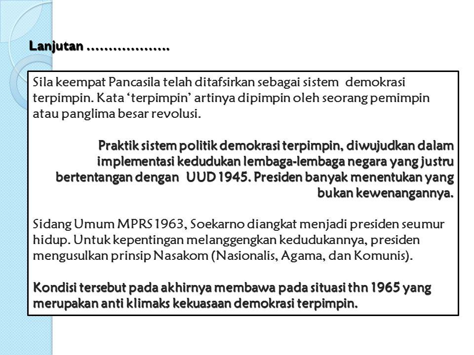 Awal kebangkitan orde baru, bercita-cita untuk menjalankan Pancasila dan UUD 1945 secara murni dan konsekuen.