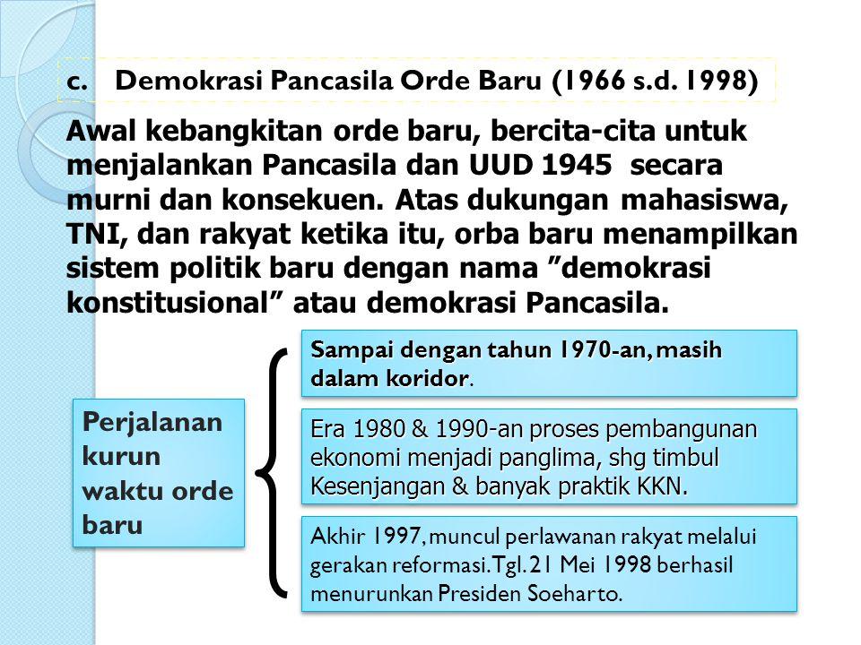 Awal kebangkitan orde baru, bercita-cita untuk menjalankan Pancasila dan UUD 1945 secara murni dan konsekuen. Atas dukungan mahasiswa, TNI, dan rakyat