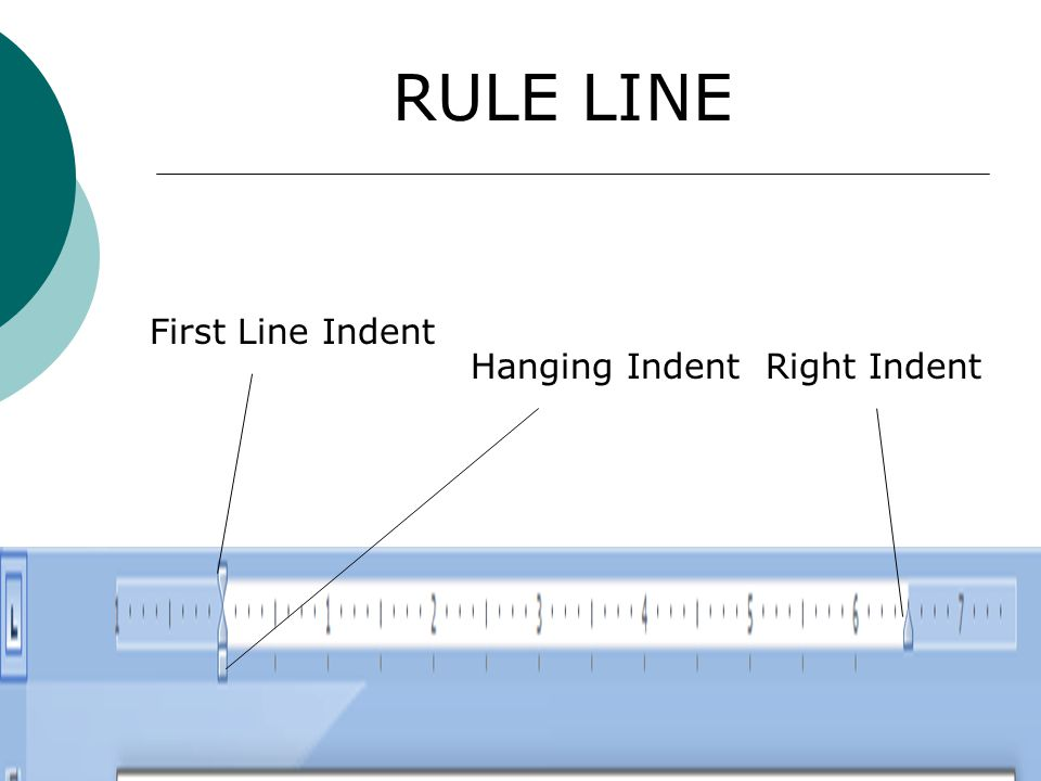 First Line Indent Hanging IndentRight Indent RULE LINE