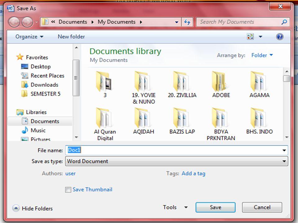 Meyimpan dan memberi nama file yg baru Setelah kita menyimpan naskah, maka di sudut kiri atas monitor akan ditampilkan nama file yg kita ketik dan layar pengetikan masih seperti sebelumnya.