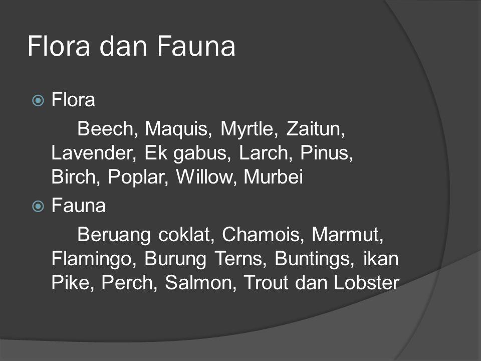 Flora dan Fauna  Flora Beech, Maquis, Myrtle, Zaitun, Lavender, Ek gabus, Larch, Pinus, Birch, Poplar, Willow, Murbei  Fauna Beruang coklat, Chamois