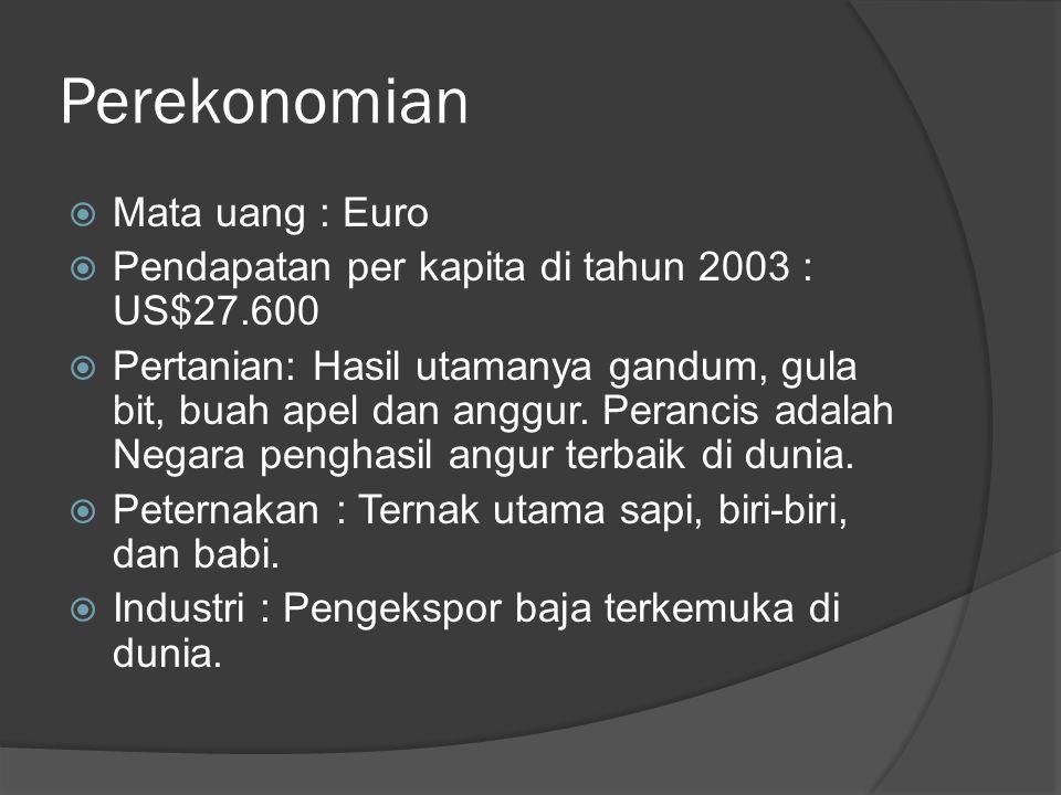 Perekonomian  Mata uang : Euro  Pendapatan per kapita di tahun 2003 : US$27.600  Pertanian: Hasil utamanya gandum, gula bit, buah apel dan anggur.