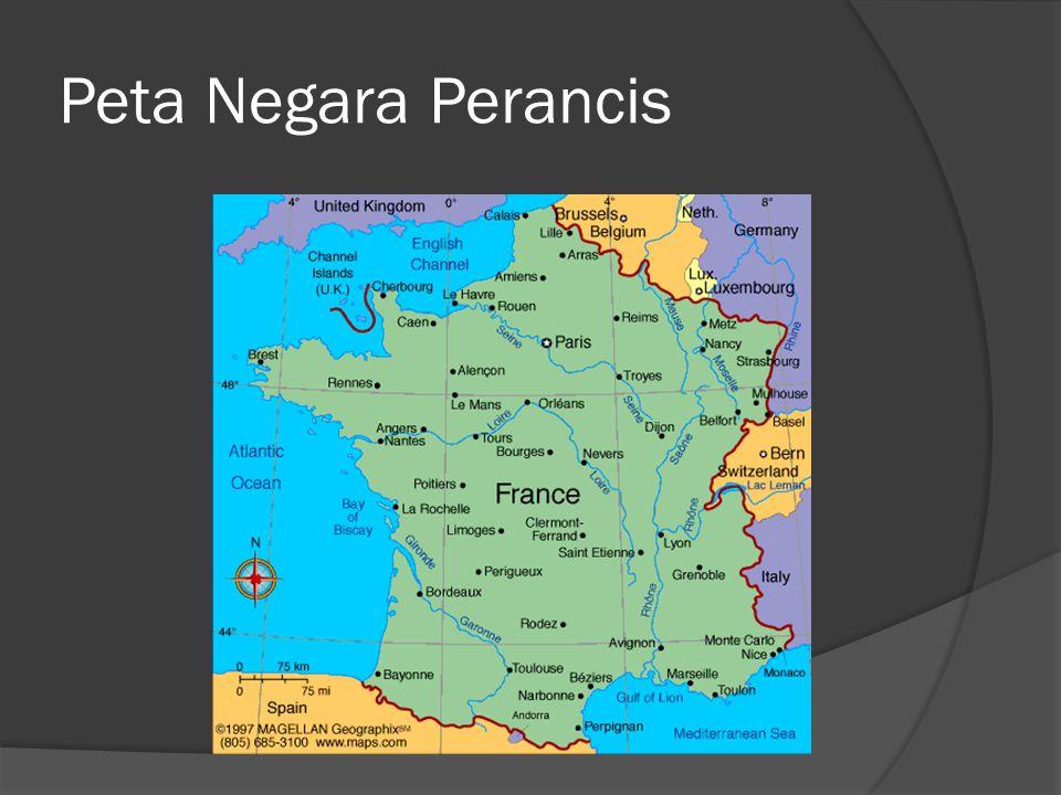 Letak  Letak astronomis : 42 0 LU – 51 o LU dan 5 o BT – 9 o BB  Letak geografis negara Perancis di Eropa Barat, yang berbatasan dengan Teluk Biscay dan Selat Channel, di antara wilayah negara Belgia dan Spanyol, serta di sebelah selatan Inggris Raya.