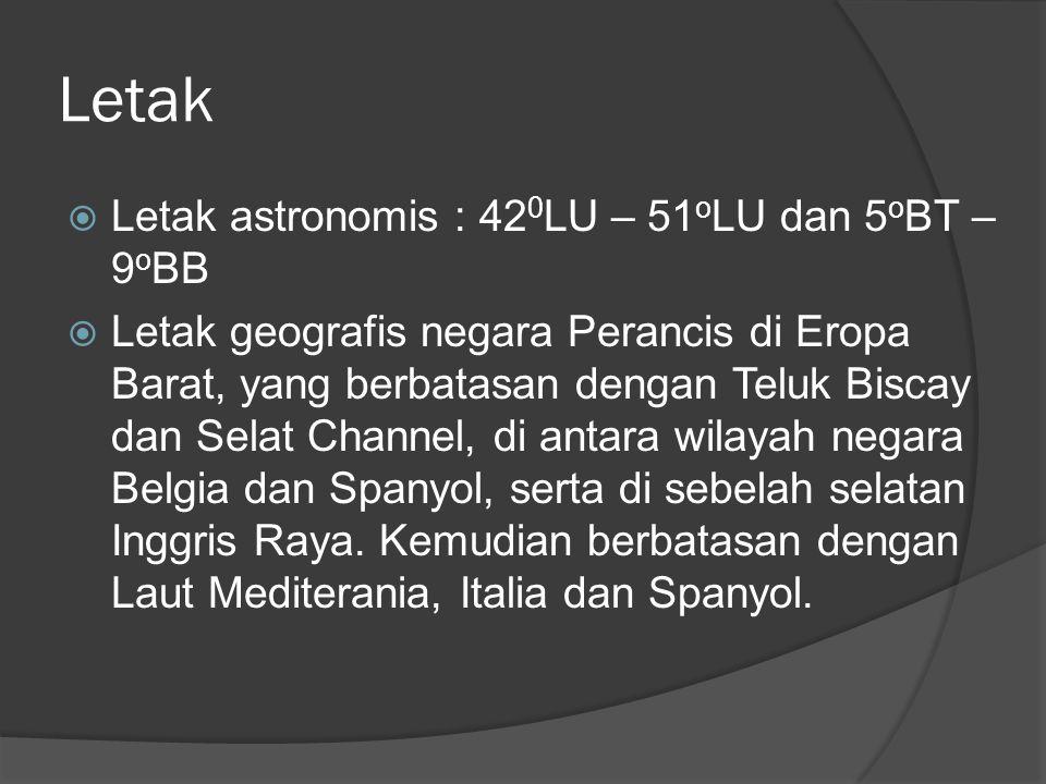 Letak  Letak astronomis : 42 0 LU – 51 o LU dan 5 o BT – 9 o BB  Letak geografis negara Perancis di Eropa Barat, yang berbatasan dengan Teluk Biscay