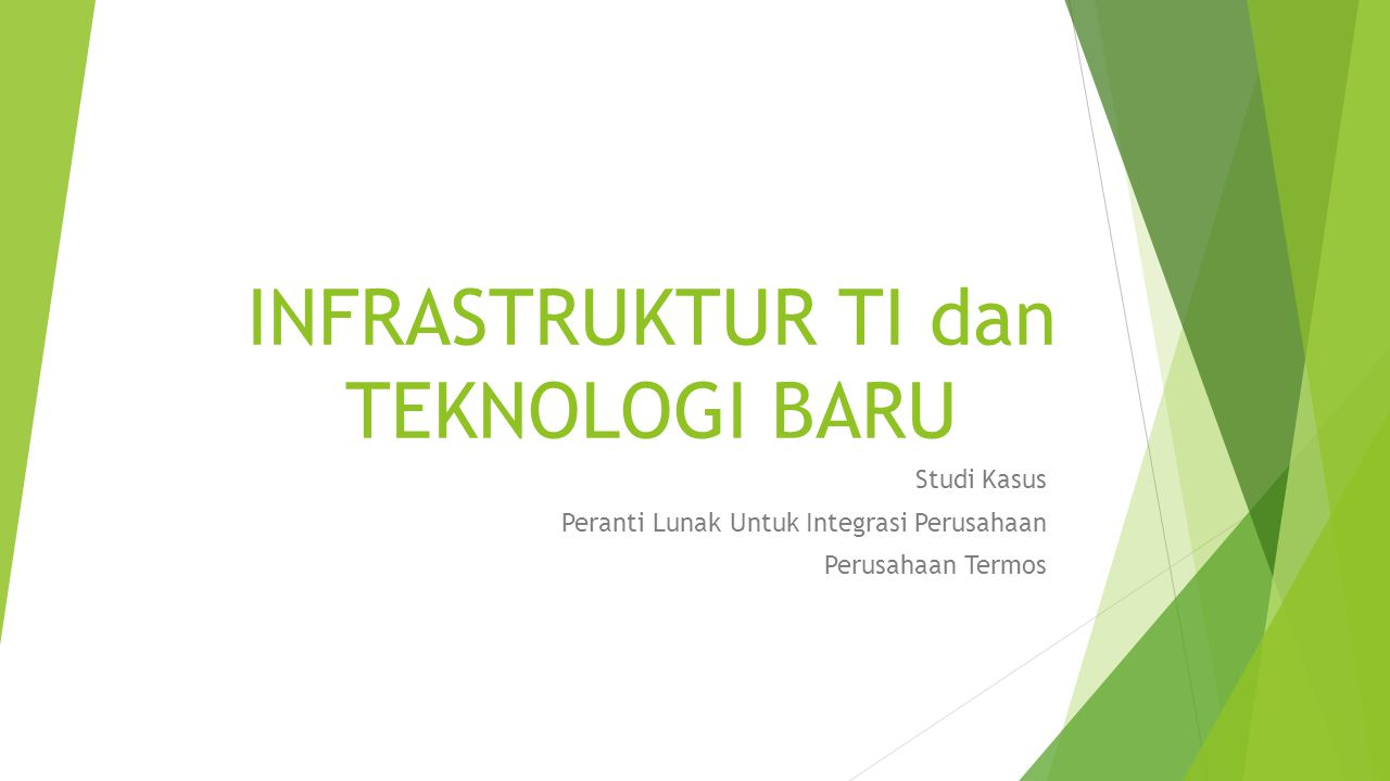 INFRASTRUKTUR TI dan TEKNOLOGI BARU Studi Kasus Peranti Lunak Untuk Integrasi Perusahaan Perusahaan Termos