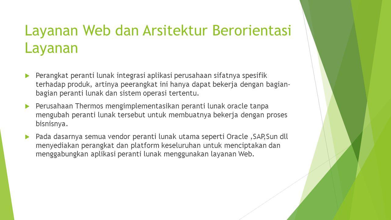 Layanan Web dan Arsitektur Berorientasi Layanan  Perangkat peranti lunak integrasi aplikasi perusahaan sifatnya spesifik terhadap produk, artinya pee