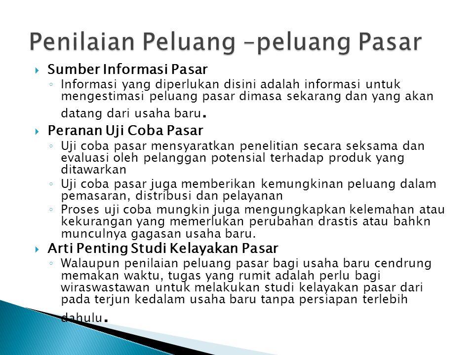  Sumber Informasi Pasar ◦ Informasi yang diperlukan disini adalah informasi untuk mengestimasi peluang pasar dimasa sekarang dan yang akan datang dar