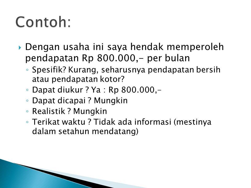  Dengan usaha ini saya hendak memperoleh pendapatan Rp 800.000,- per bulan ◦ Spesifik? Kurang, seharusnya pendapatan bersih atau pendapatan kotor? ◦
