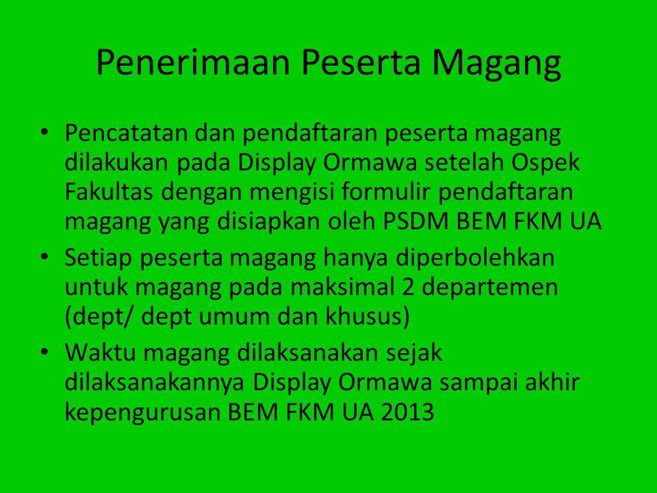 Penerimaan Peserta Magang Pencatatan dan pendaftaran peserta magang dilakukan pada Display Ormawa setelah Ospek Fakultas dengan mengisi formulir penda