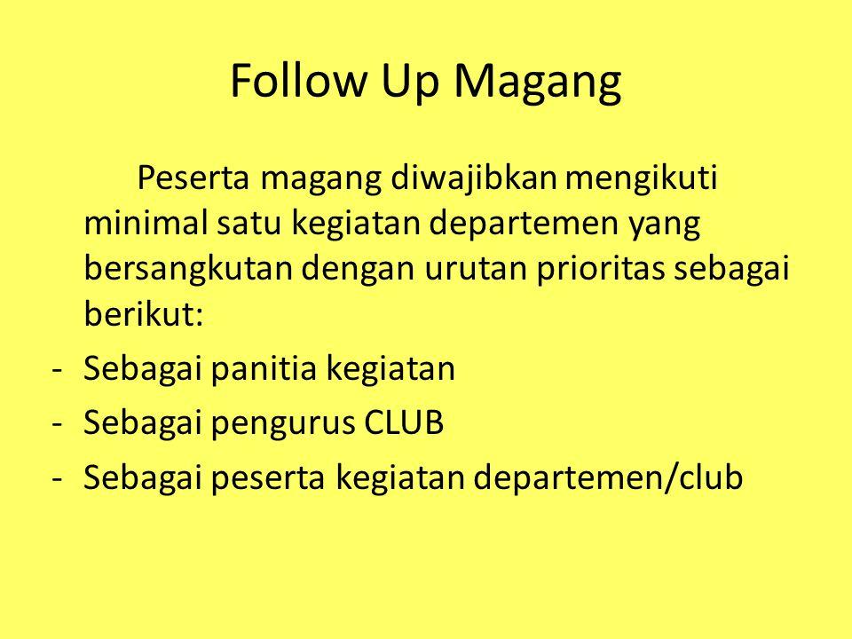 Follow Up Magang Peserta magang diwajibkan mengikuti minimal satu kegiatan departemen yang bersangkutan dengan urutan prioritas sebagai berikut: -Seba