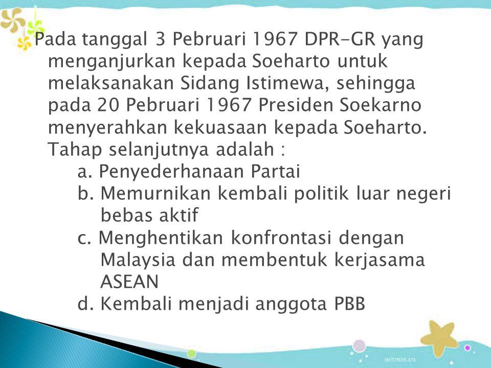 Pada tanggal 3 Pebruari 1967 DPR-GR yang menganjurkan kepada Soeharto untuk melaksanakan Sidang Istimewa, sehingga pada 20 Pebruari 1967 Presiden Soek