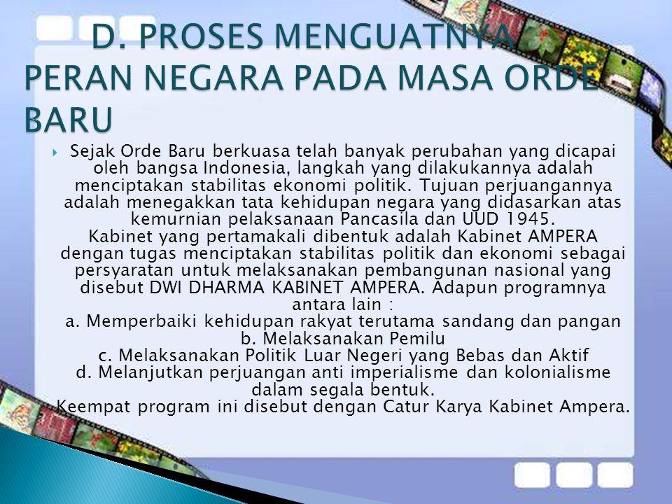  Sejak Orde Baru berkuasa telah banyak perubahan yang dicapai oleh bangsa Indonesia, langkah yang dilakukannya adalah menciptakan stabilitas ekonomi