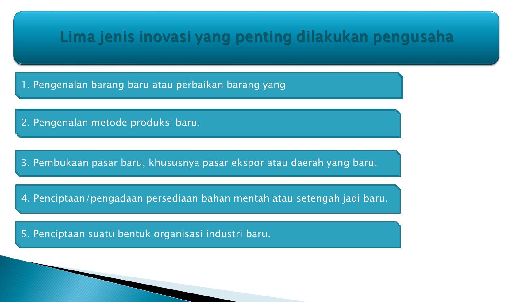 Lima jenis inovasi yang penting dilakukan pengusaha Lima jenis inovasi yang penting dilakukan pengusaha 1. Pengenalan barang baru atau perbaikan baran