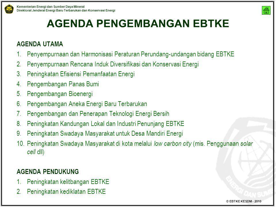 Kementerian Energi dan Sumber Daya Mineral Direktorat Jenderal Energi Baru Terbarukan dan Konservasi Energi © EBTKE KESDM - 2010 AGENDA PENGEMBANGAN E